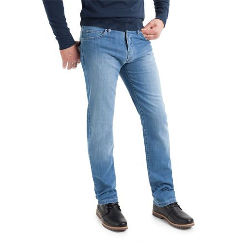 Denim azul lavado claro a la piedra rozado y desgastado - Comprar Pantalón TCH tipo Jeans para hombre o chico 5 bolsillos fabricado en algodón con lycra y lavado desgastado.